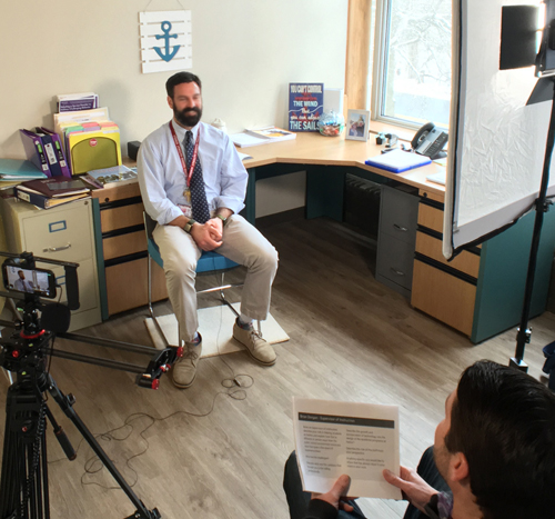 Budget video design and development interviews at business or school